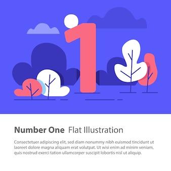 Numero uno, concetto grafico in alto, numero sequenziale
