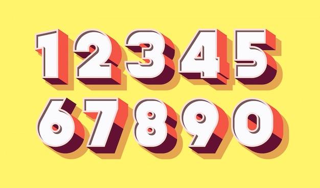 Numero impostato stile di colore grassetto 3d