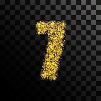 Il numero sette dell'oro brilla e splende