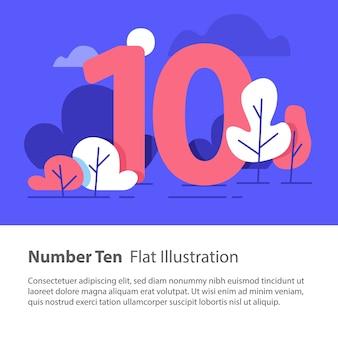 Numero dieci, concetto grafico in alto, numero sequenziale, decennio, cielo notturno, alberi del parco, design, illustrazione minimalista