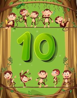 Numero dieci con 10 scimmie sull'albero