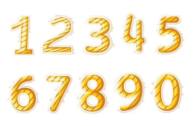 Numeri colorati impostati in stile vintage. elementi illustrazione modello per il web o biglietto di auguri illustrazione vettoriale. pagina del sito web e app per dispositivi mobili.