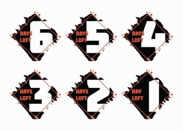 Numero di giorni rimasti design. set di badge per la vendita e la promozione