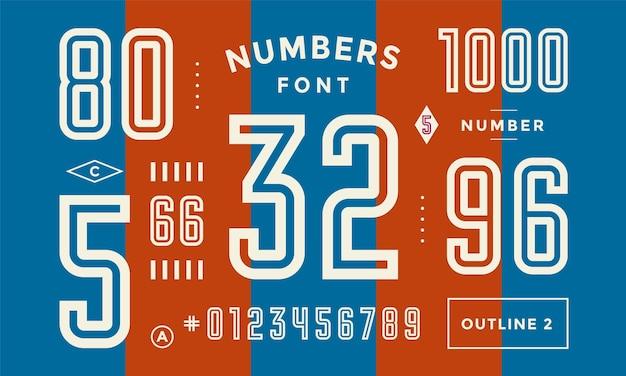 Carattere di numeri. numeri regolari geometrici condensati. carattere sportivo con numeri e numeri. forte carattere sportivo in linea industriale