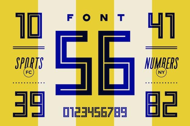 Carattere di numeri. carattere sportivo con numeri e numerici. carattere grassetto regolare geometrico
