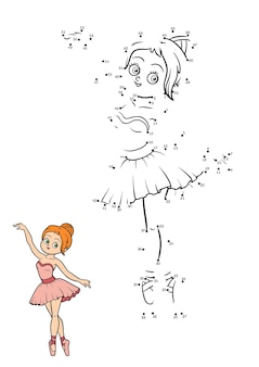 Gioco di numeri, gioco educativo punto per punto per bambini, ballerina