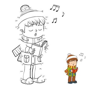 Gioco di numeri, gioco educativo punto per punto per bambini, ragazzo che canta una canzone di natale