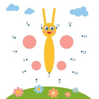 Gioco di numeri, gioco educativo punto per punto per bambini, butterfly