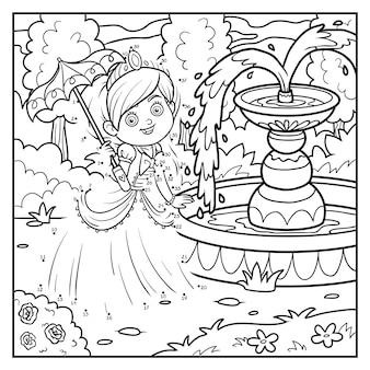 Gioco di numeri, gioco educativo punto per punto per bambini, personaggio dei cartoni animati, principessa con ombrello