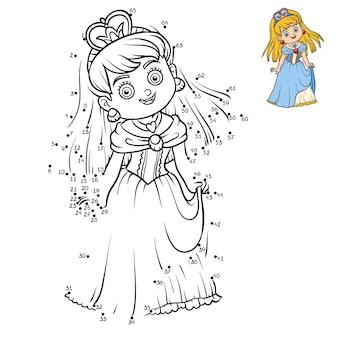 Gioco di numeri, gioco educativo punto per punto per bambini, personaggio dei cartoni animati, principessa