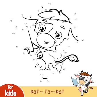 Gioco di numeri, gioco educativo punto per punto per bambini, mucca