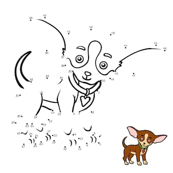 Gioco di educazione con i numeri gioco da punto a punto per bambini razze di cani chihuahua