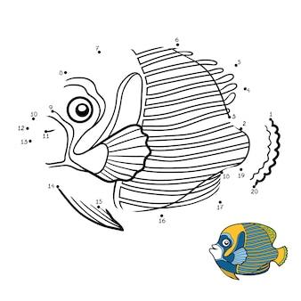 Gioco di numeri, gioco educativo punto per punto per bambini, pesce angelo imperatore