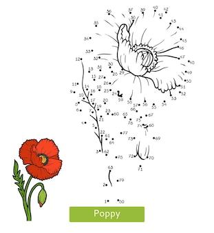 Gioco di numeri, gioco educativo punto per punto per bambini, fiore di papavero
