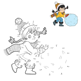 Gioco di numeri, gioco educativo punto per punto per bambini, ragazza e una palla di neve