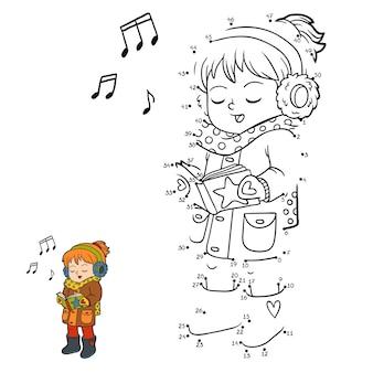 Gioco di numeri, gioco educativo punto per punto per bambini, ragazza che canta una canzone di natale