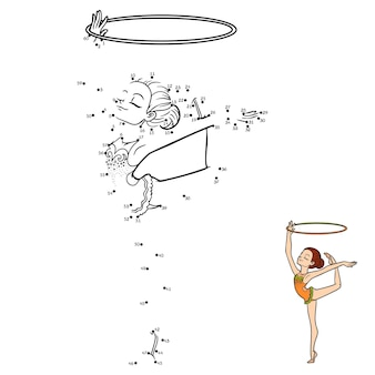 Gioco di numeri, gioco educativo punto per punto per bambini, la ginnasta con un cerchio