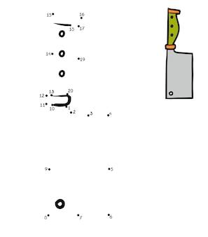 Gioco di numeri, gioco educativo punto per punto per bambini, coltello