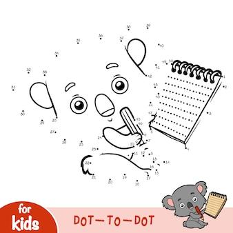Gioco di numeri, gioco educativo punto per punto per bambini, koala