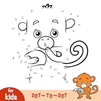 Gioco di numeri, gioco educativo punto per punto per bambini, scimmia