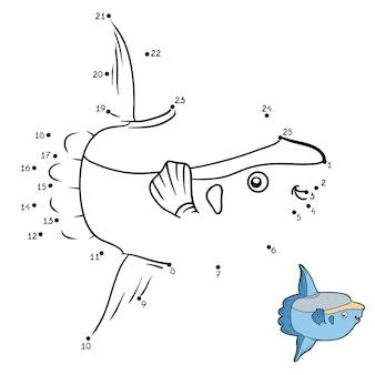 Gioco di numeri, gioco educativo punto per punto per bambini, pesce luna dell'oceano