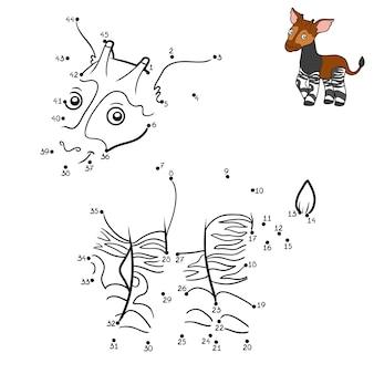 Gioco di numeri, gioco educativo punto per punto per bambini, okapi