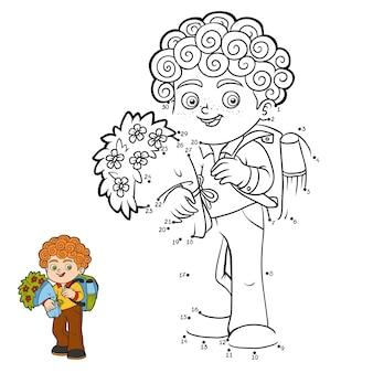 Gioco di numeri, gioco educativo punto per punto per bambini, scolaro con fiori