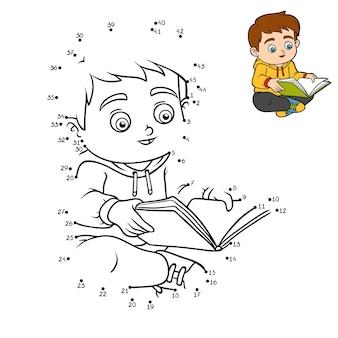Gioco di numeri, gioco educativo punto per punto per bambini, ragazzo che legge un libro