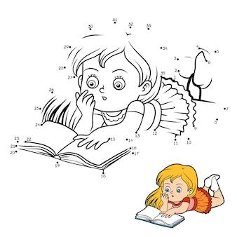 Gioco di numeri, gioco educativo punto per punto per bambini, ragazza che legge un libro