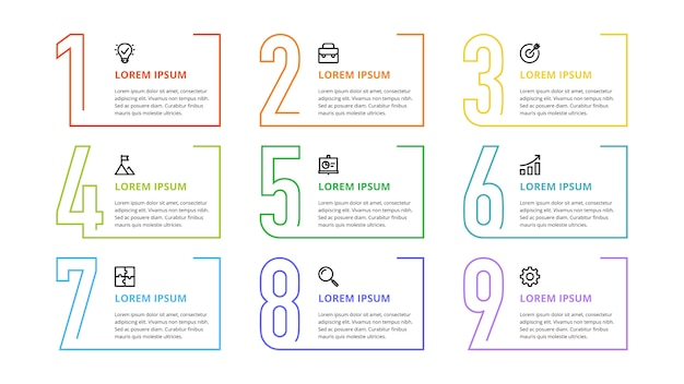 Numeri infografici per opzioni, passaggi, processi aziendali