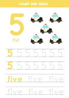 Pratica del tracciamento di numeri e lettere. scrivendo il numero 5 e la parola cinque. auto della polizia dei cartoni animati.