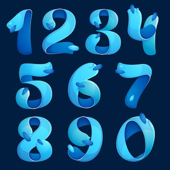 I numeri impostano i loghi con onde d'acqua e gocce. design per banner, presentazione, pagina web, carta, etichette o poster.