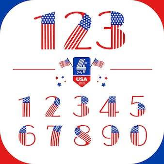 Numeri impostati in stile usa con bandiera americana. giorno dell'indipendenza
