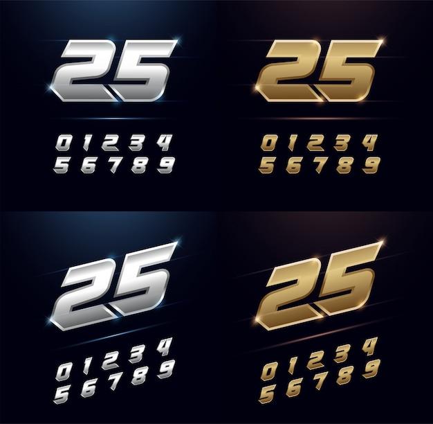 Numeri d'argento e oro metallo alfabeto font