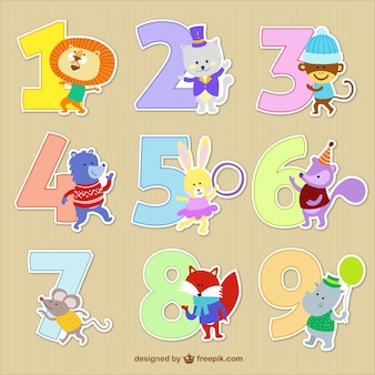 I numeri con i cartoni animati di animali
