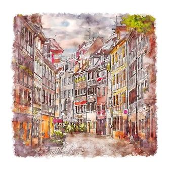 Illustrazione disegnata a mano di schizzo dell'acquerello di norimberga germania