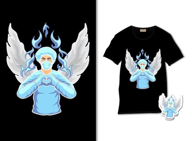 Illustrazione di angelo infermiera con design t-shirt