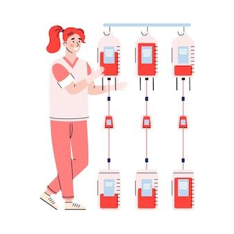 Infermiera dell'illustrazione piana del personaggio dei cartoni animati della banca del sangue isolata