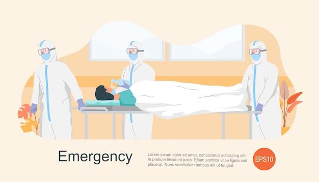 Infermiera e medico con indumenti protettivi in fretta prendendo paziente