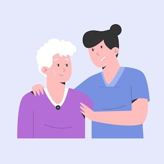 Infermiera che fa assistenza domiciliare all'anziano