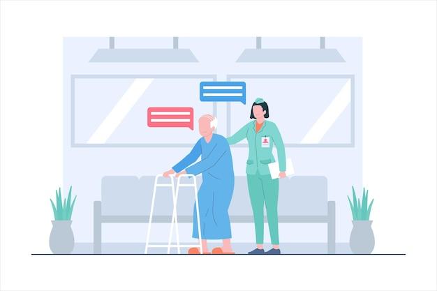 Infermiera che aiuta il vecchio paziente all'illustrazione della scena dell'ospedale