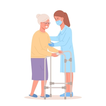L'infermiera aiuta il paziente anziano con un deambulatore persone in terapia ortopedica riabilitazione