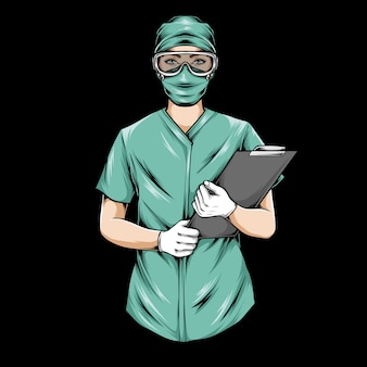 Illustrazione della lavagna per appunti della tenuta dell'infermiere