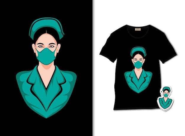 Illustrazione di infermiera con design t-shirt