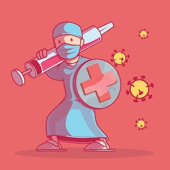 Infermiera con un'illustrazione di scudo e siringa. medicina, prevenzione, germi, concetto di design di virus