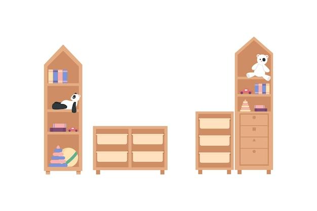 Insieme di oggetti di colore piatto mobili della scuola materna