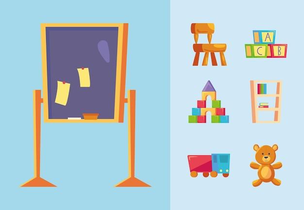 Set di icone di scuola materna