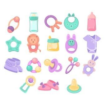 Collezione di oggetti di scuola materna