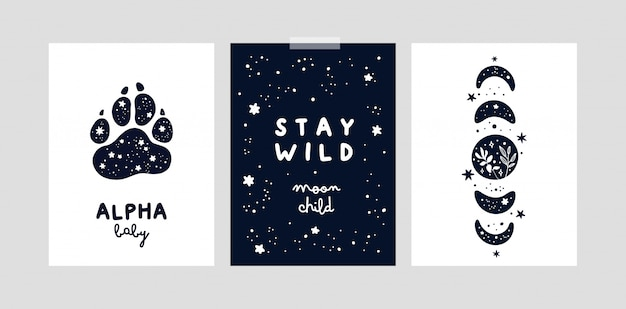 Stampe della scuola materna con lune magiche e stelle per bambina o ragazzo. carte o poster infantili
