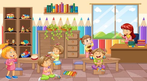 Scena della stanza dell'asilo con un'insegnante e molti bambini